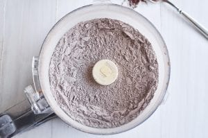 Mixing up a homemade hot cocoa mix in the food processor