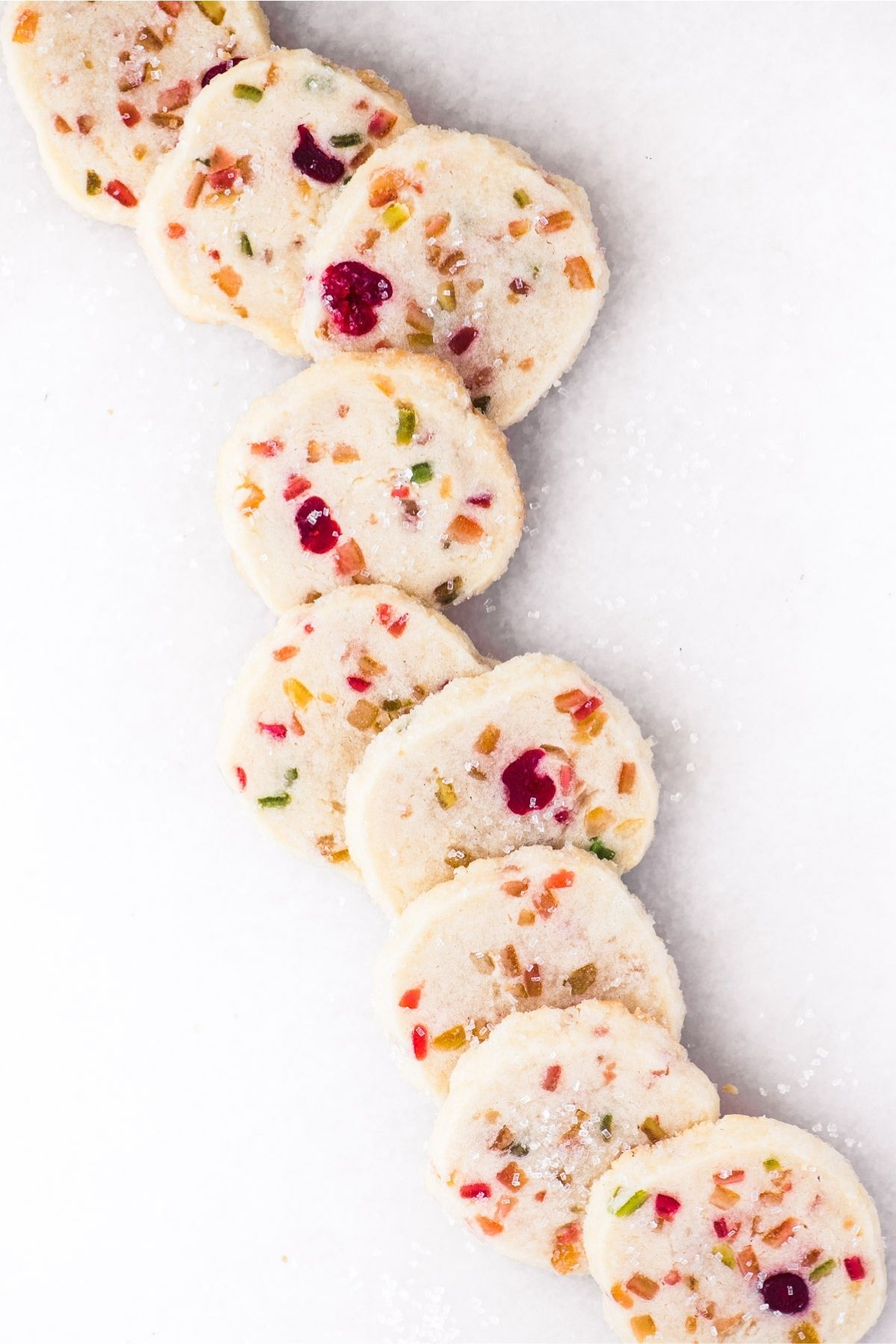 fruit cake cookies on a white ground