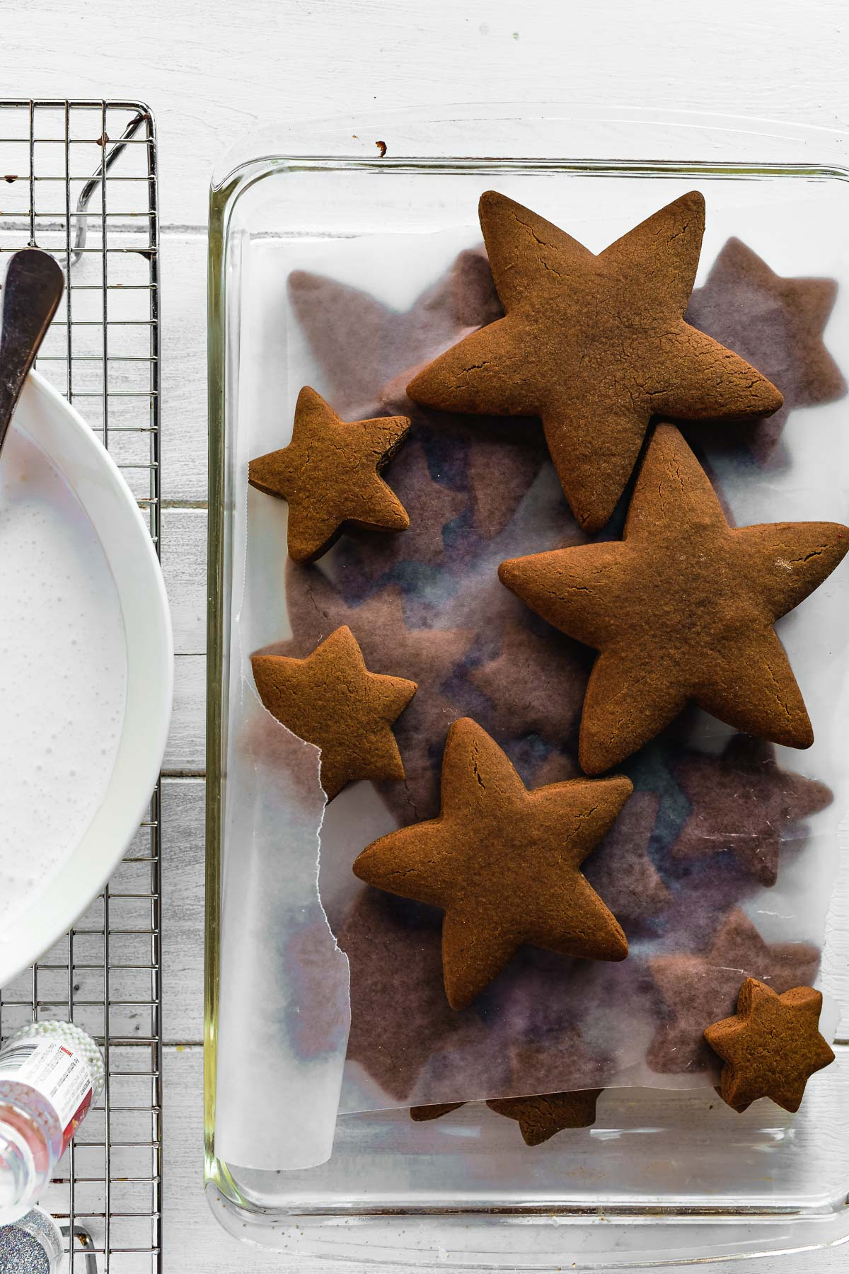 gingerbread star cookies ready to frost