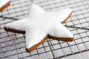 gingerbread cookie frosted with royal icing