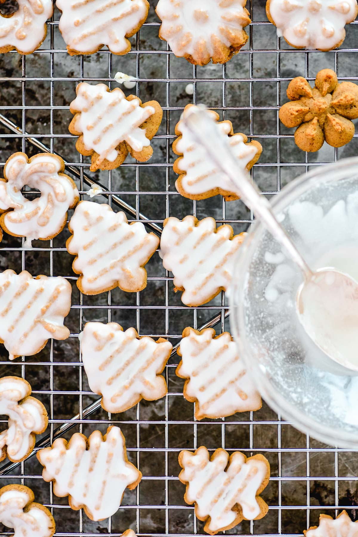 glazing gingerbread spritz cookies