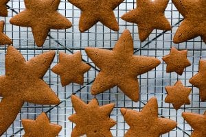 cooling gingerbread cookies on a rack