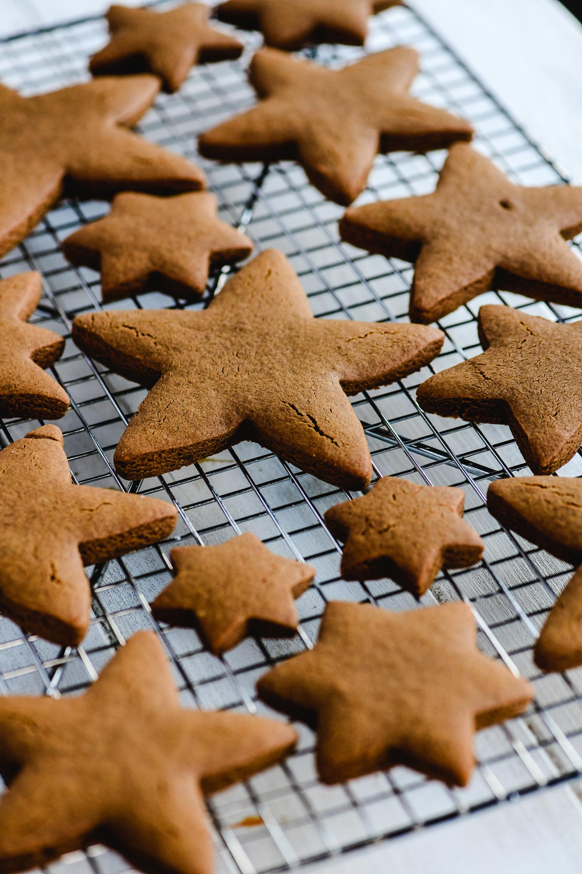 gingerbread cookies cooling on a rack