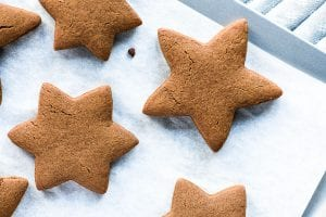 baked gingerbread cookies on a baking sheet