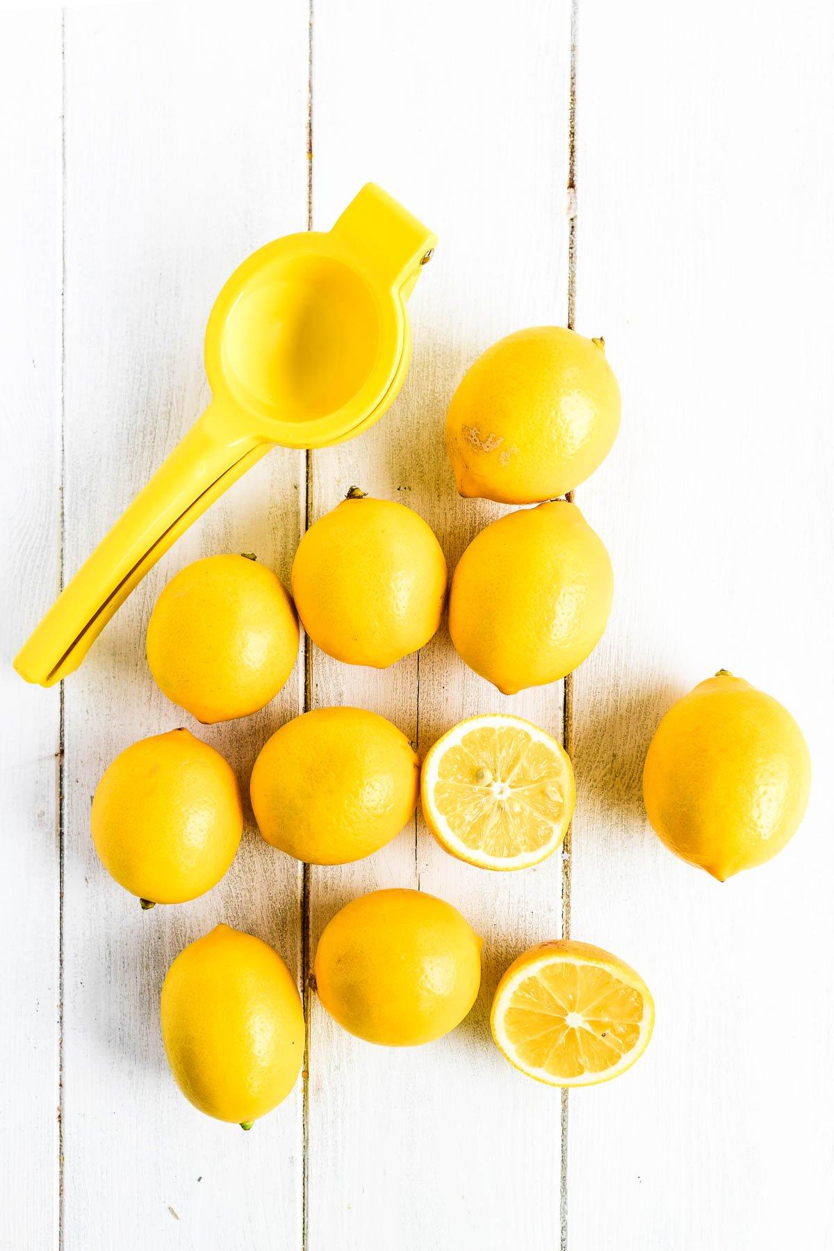 Meyer lemons with juicer