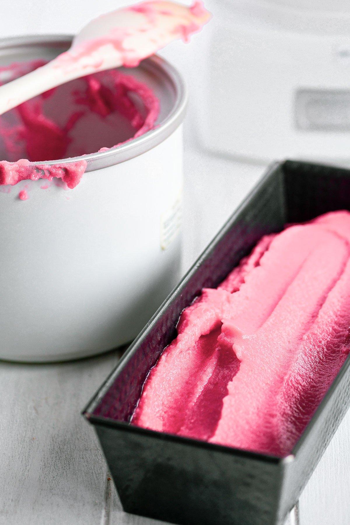 raspberry champagne sorbet with ice cream machine