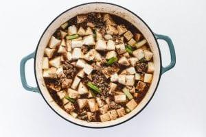 finished mapo tofu, in pan