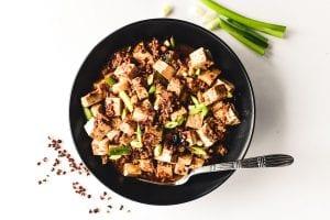 A bowl of mapo tofu.