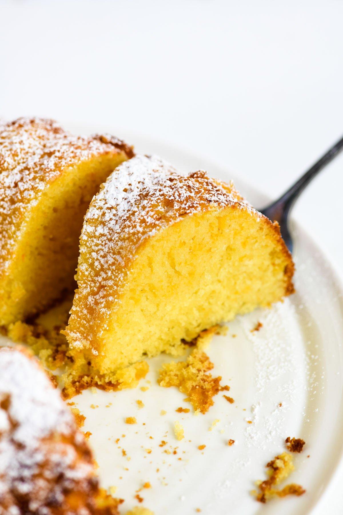 orange bundt cake, sliced