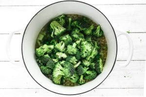 Adding broccoli florets to a soup pot