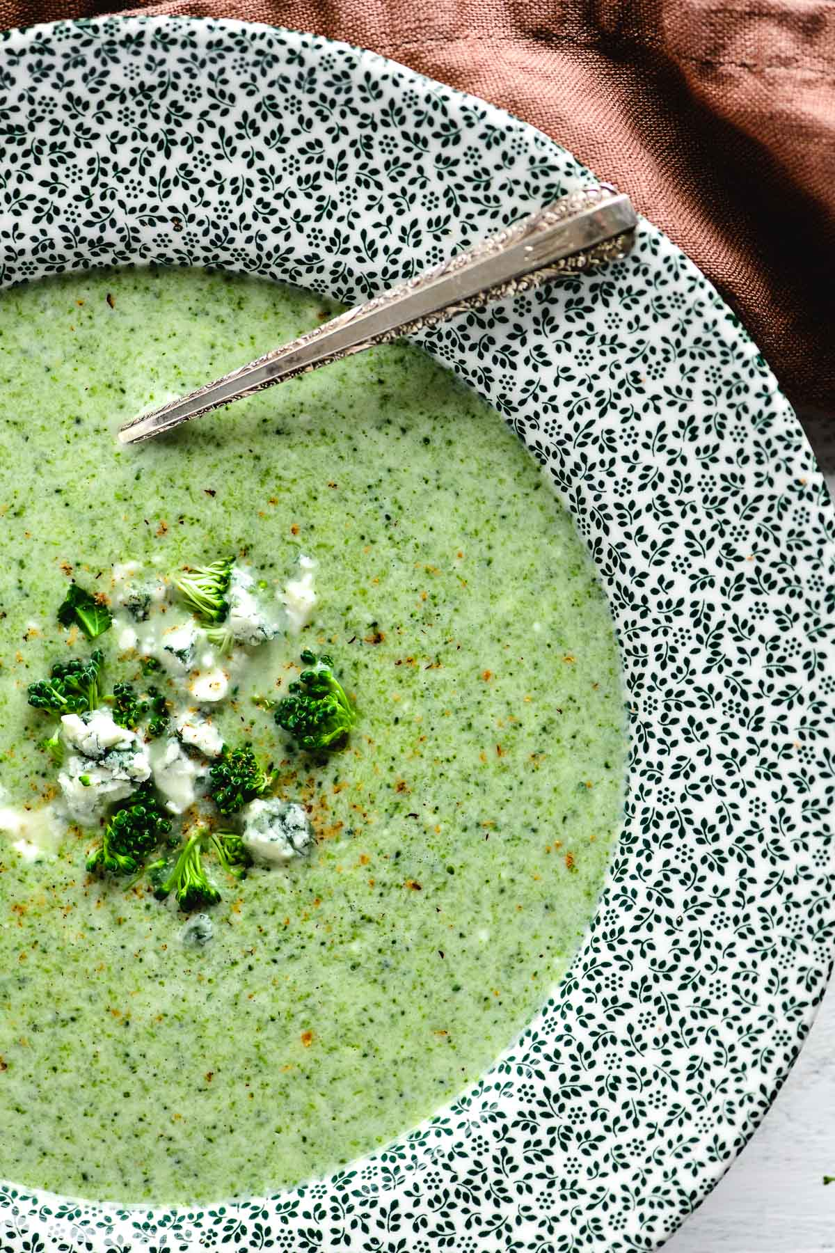 broccoli stilton soup in a Spode bowl