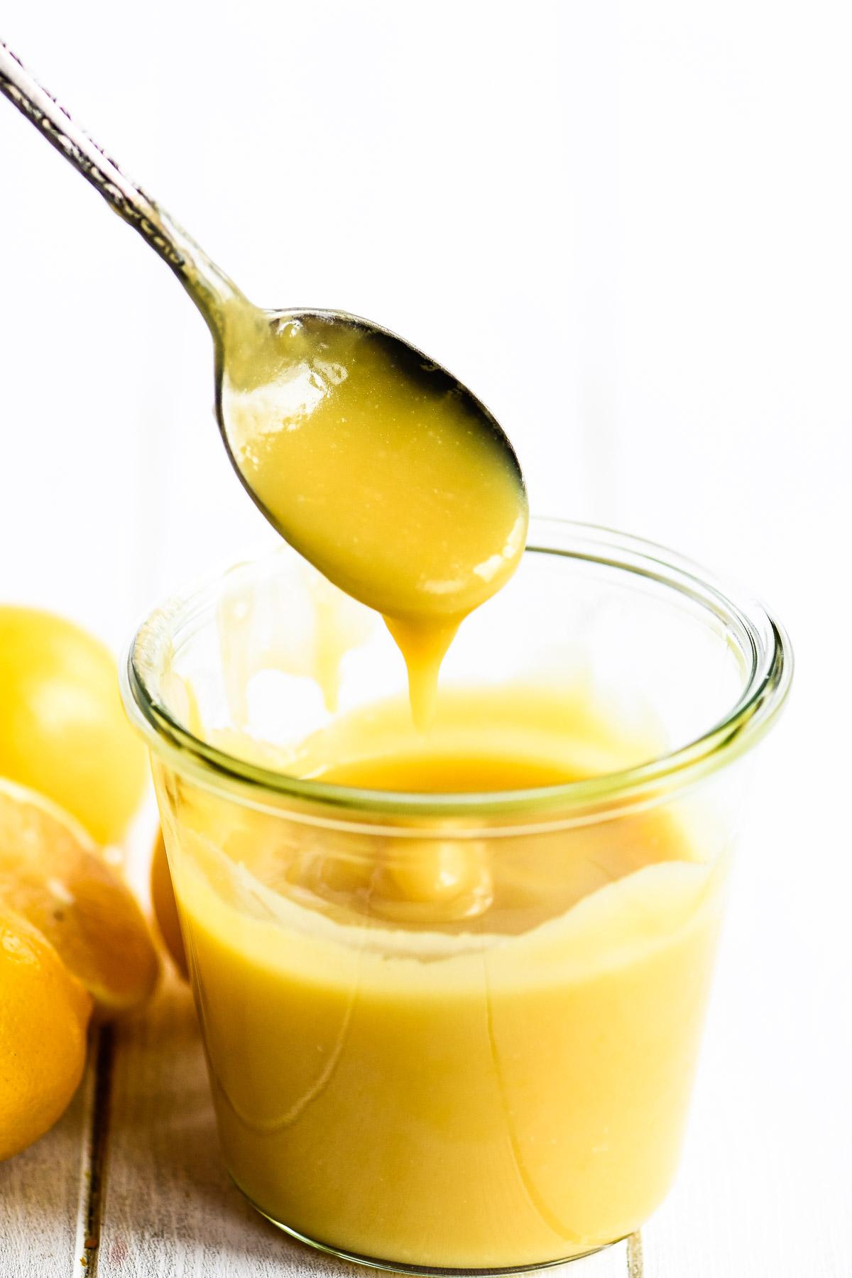taking a spoonful of Meyer lemon curd