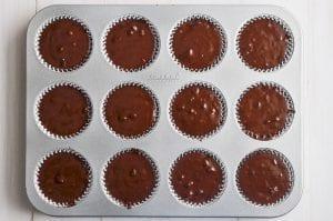 chocolate muffin batter in muffin tin