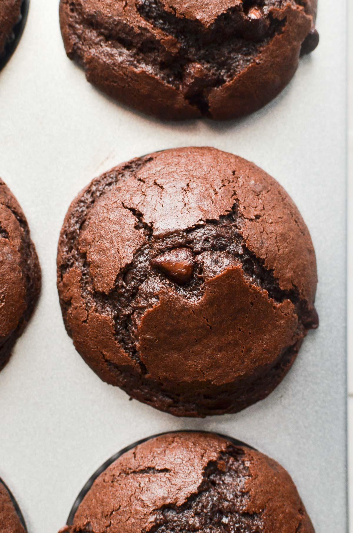 A close up of a chocolate muffin