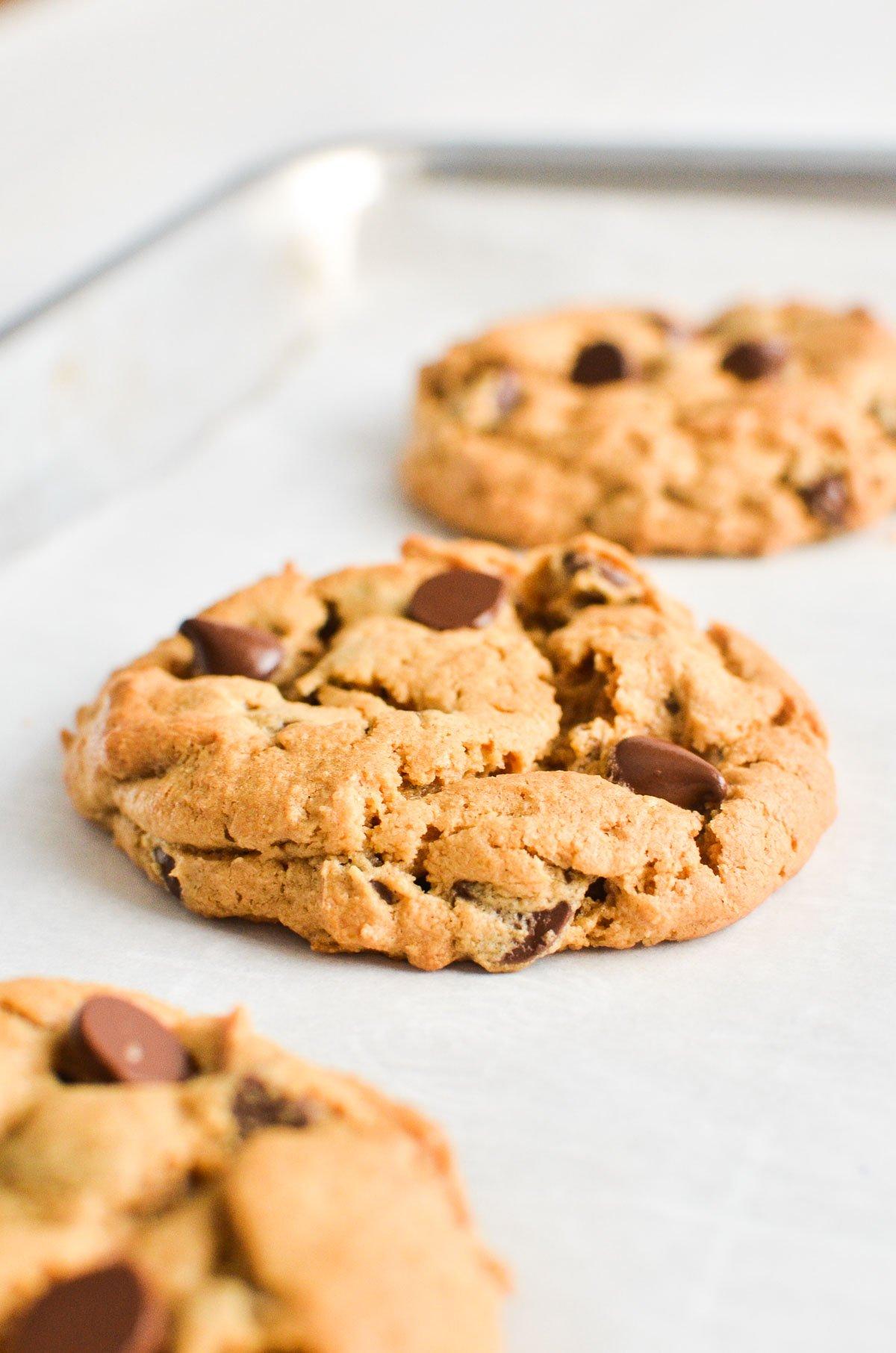 Flourless peanut butter chocolate chip cookies on a baking sheet.
