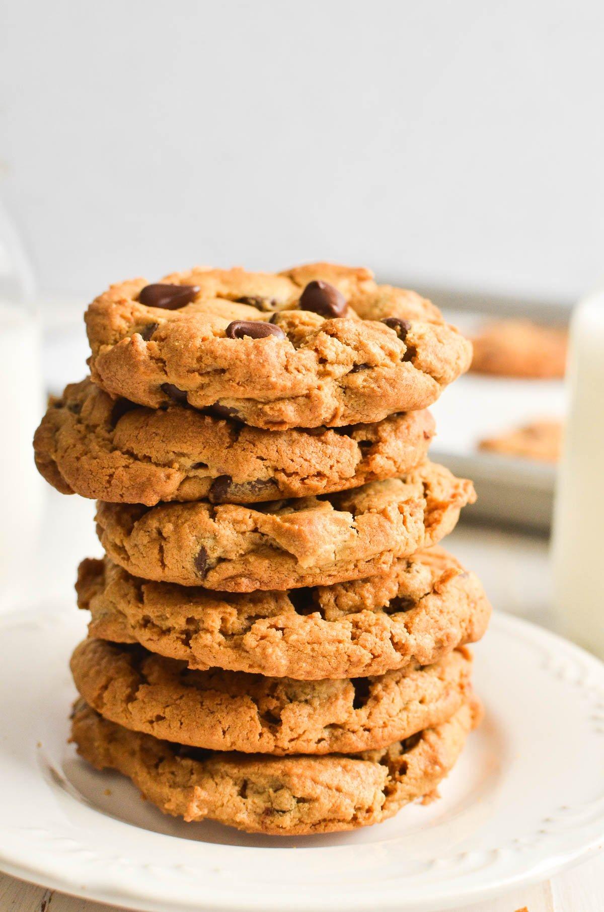 A stack of flourless peanut butter cookies.
