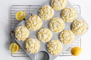 lemon muffins cooling in the pan