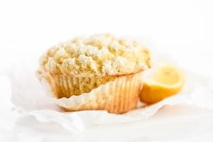 Unwrapping a lemon streusel muffin