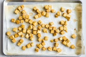 crispy oven baked tofu on a baking sheet
