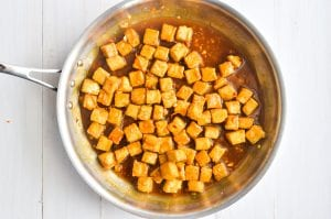 baked tofu tossed in spicy orange sauce