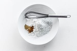 ingredients for apple crumb bar batter in a bowl