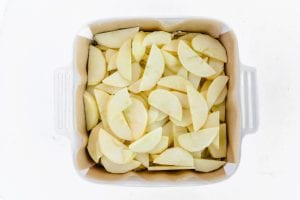 sliced apples in a pan
