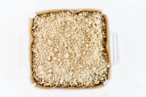 Crumble topped apple bars ready for the oven
