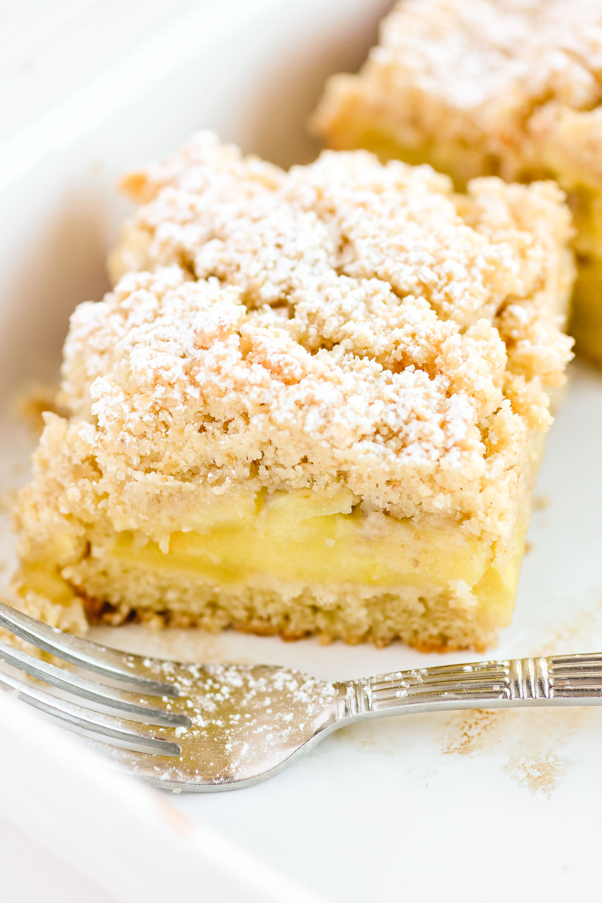 apple crumb bar, with fork