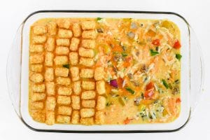 Topping a breakfast casserole with Tater Tots