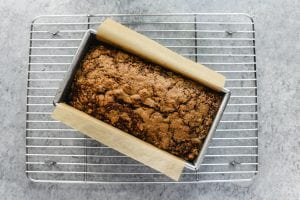 carrot bread out of the oven, on a cooling rack