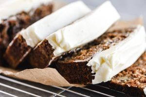Carrot bread with cream cheese frosting