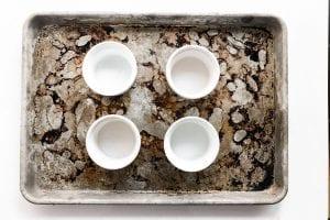 prepped ramekins for chocolate souffle