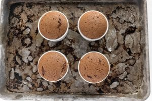 chocolate souffles, just baked