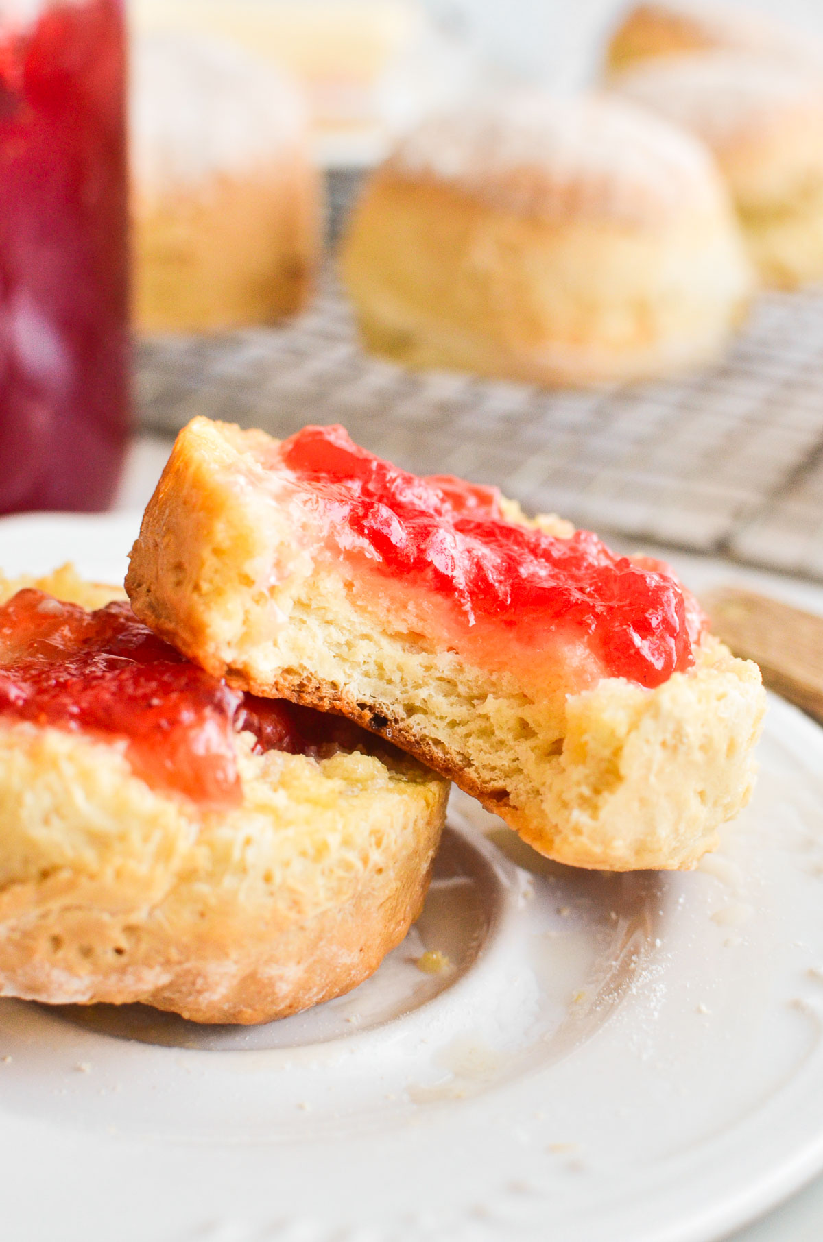 split soda scone with butter and jam