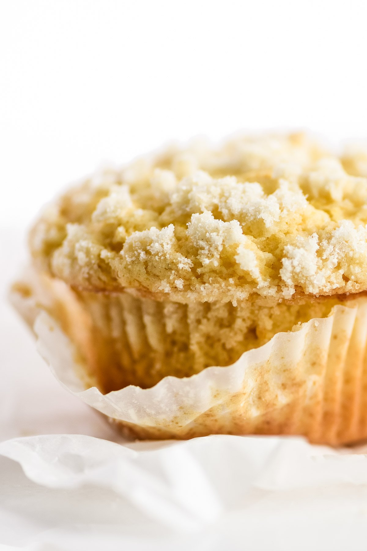 lemon streusel muffin in paper liner