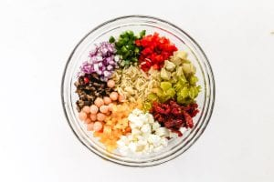 Ingredients for a Mediterranean orzo salad