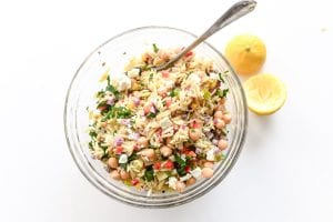 Tossed orzo salad, with lemons