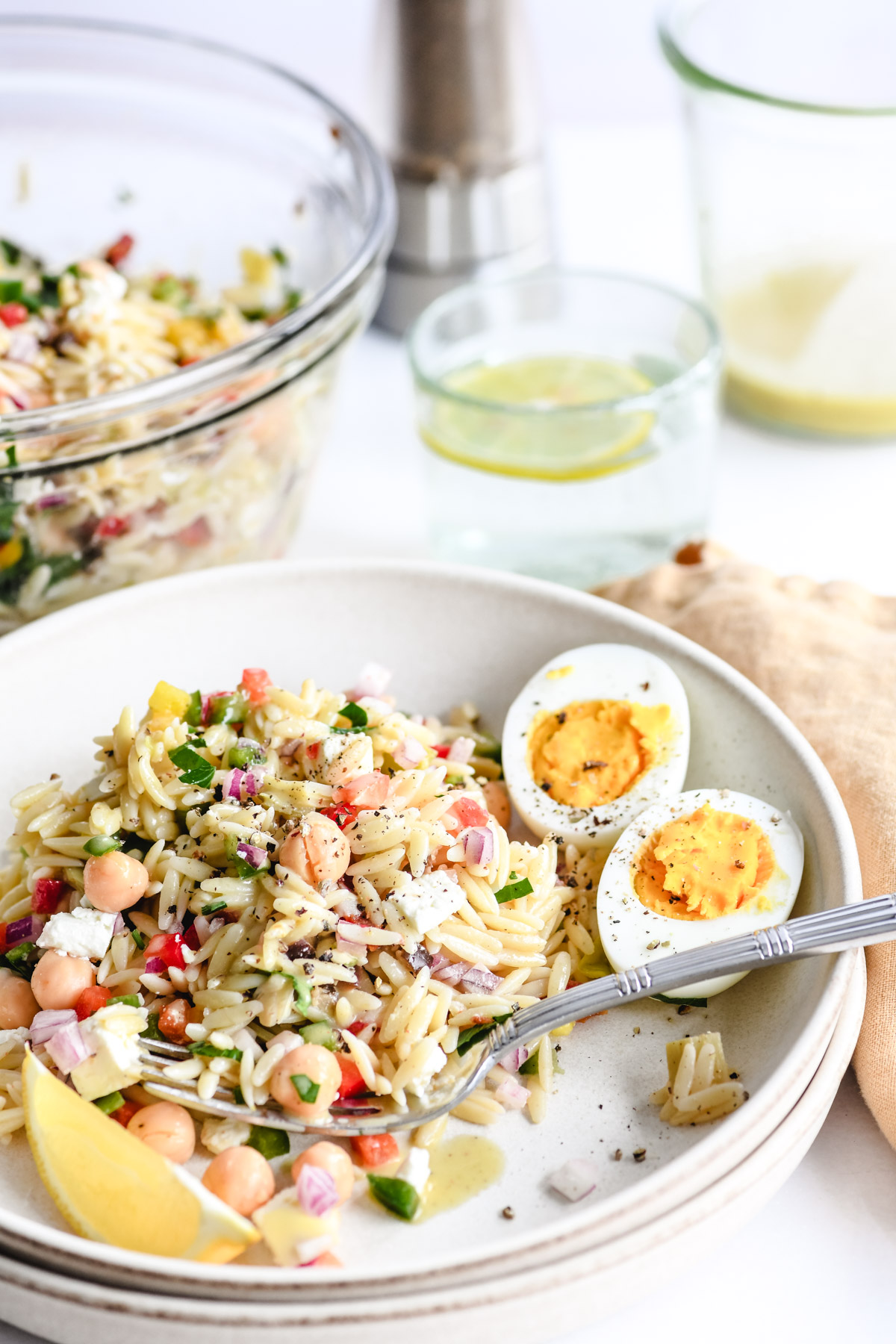 mediterranean orzo salad with creamy lemon dressing