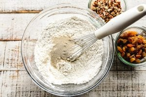 Whisking together dry ingredients for no knead bread