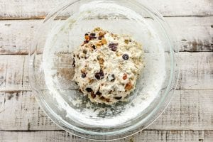 fruit and nut bread dough in a bowl