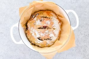 no knead artisan bread, baked in a Dutch oven