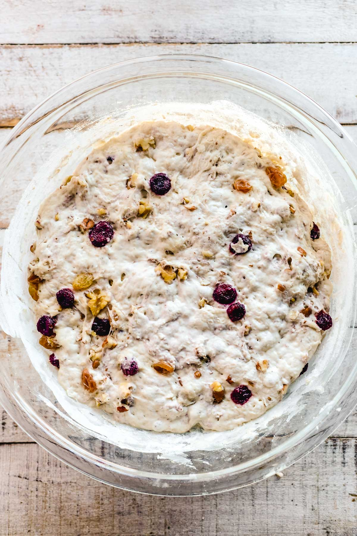 rising fruit and nut bread dough