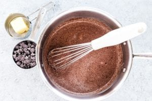 Cooking chocolate pudding in a saucepan