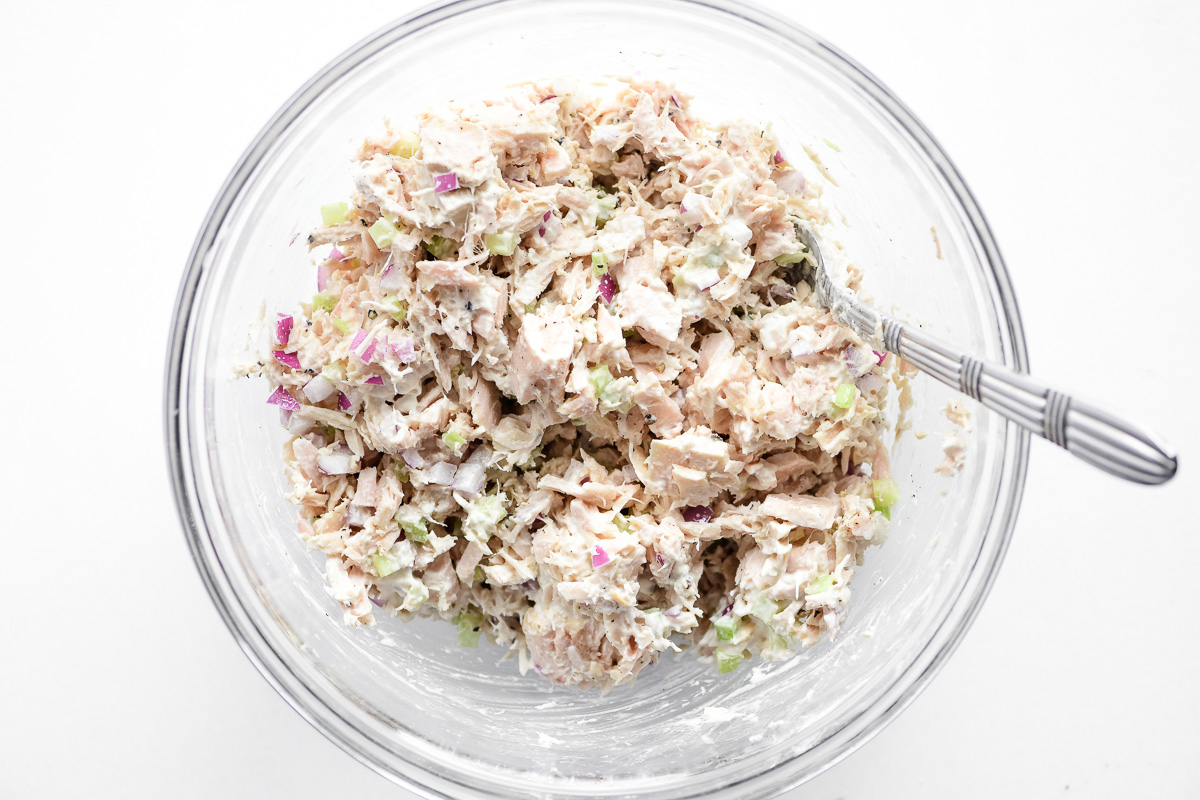Tuna salad in a glass bowl