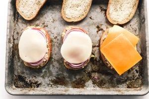 Constructing sheet pan tuna melt sandwiches