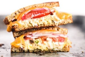a tuna melt sandwich, stacked