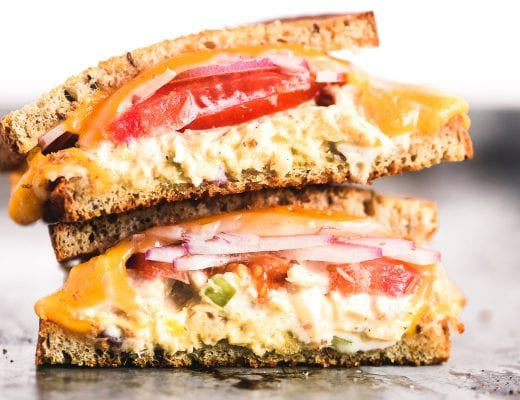 a tuna melt sandwich, stacked