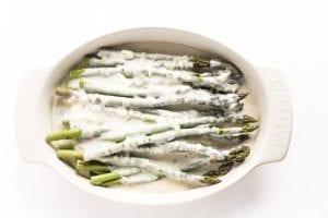 asparagus gratin, ready to bake