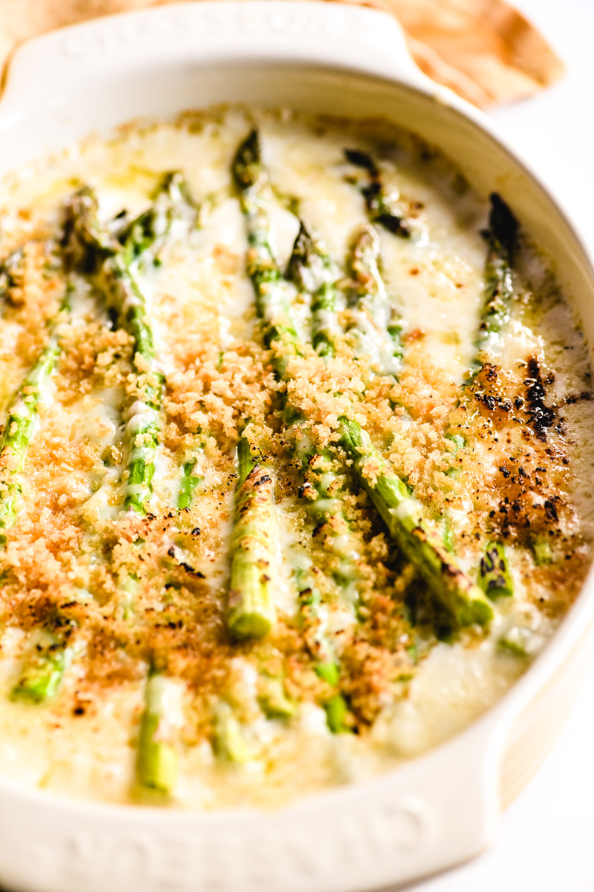 asparagus gratin, bubbling hot from the oven