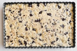 Chocolate chip shortbread dough ready for the oven